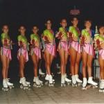 Le atlete del gruppo agonistico della Diavoli Verde Rosa in un disco di esibizione alla Pista Panfili