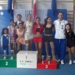 Foto degli atleti della specialità Formula con l'allenatore, Laura e Florinda